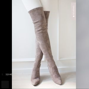 Goodnight Macaroon Taupe over the knee boots
